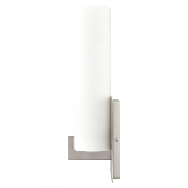 """14""""H Brushed Nickel Wall Sconce with Frosted Glass Shade"""