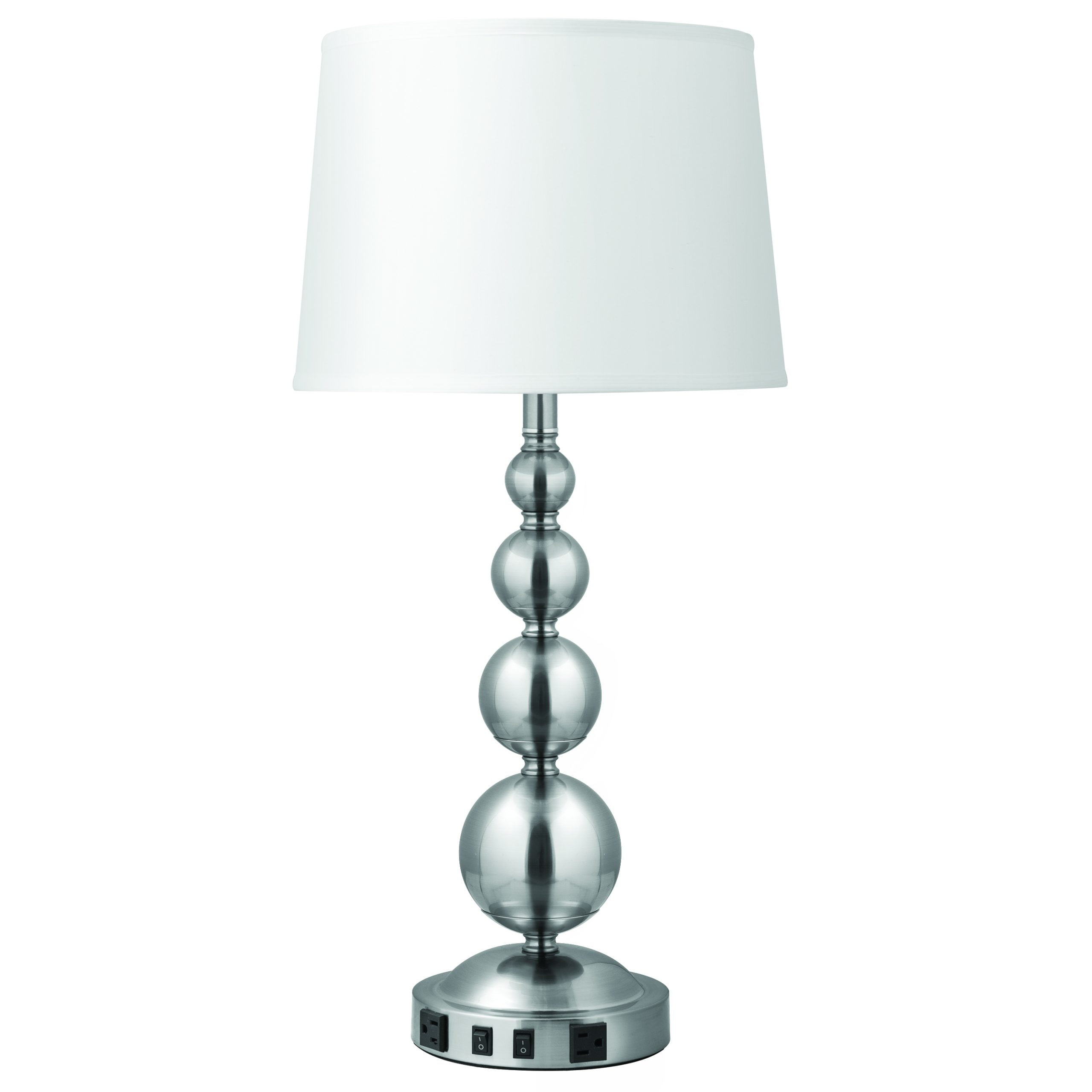 Lush Vert Twin Table Lamp with 2 Outlets