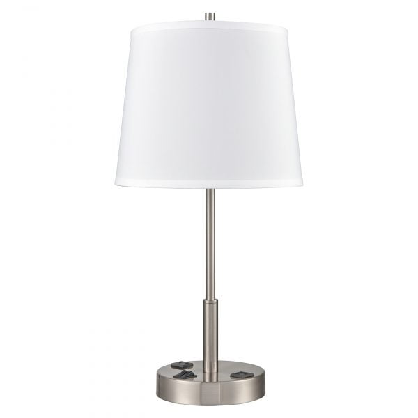 Englewood Twin Table Lamp with 2 Outlets