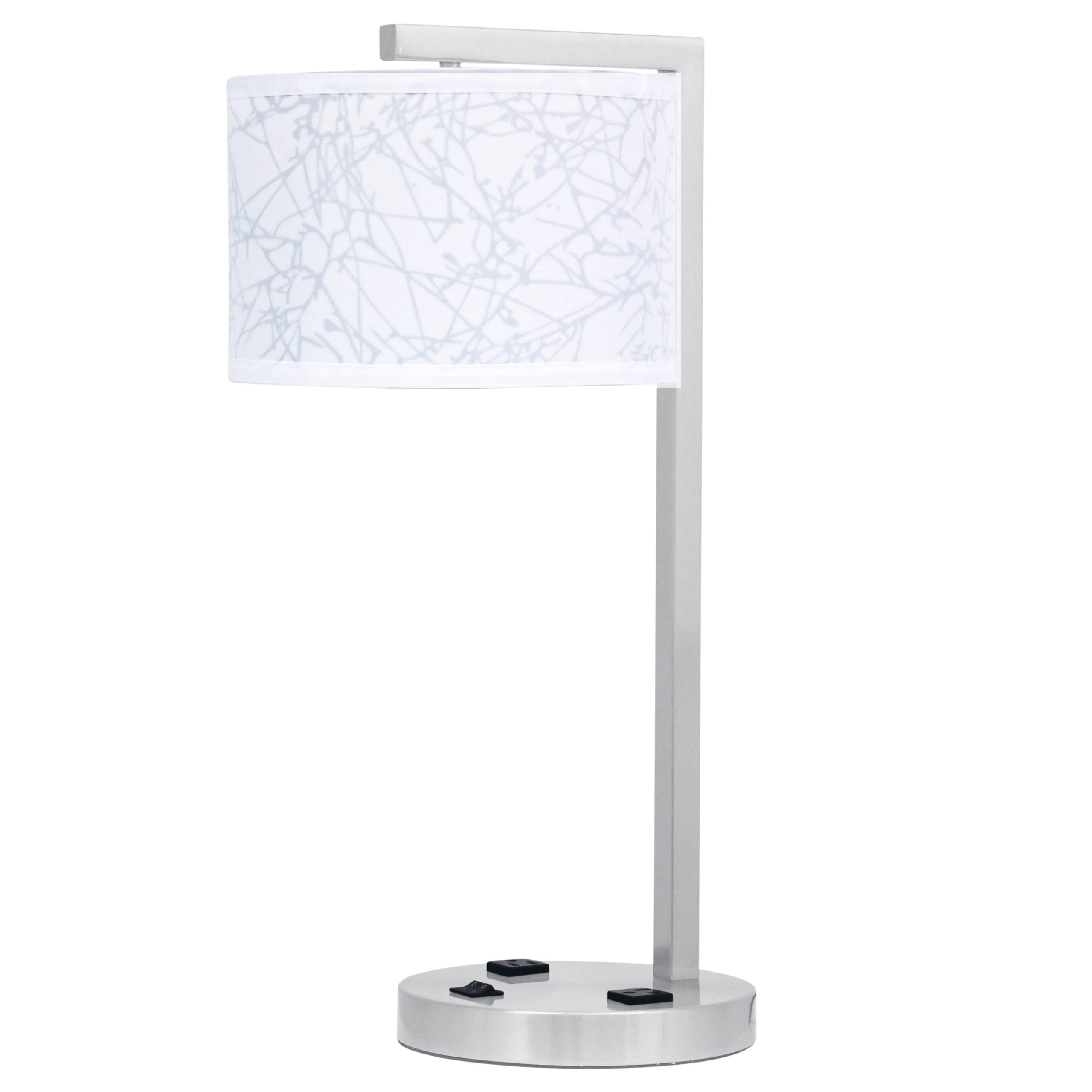 Mainstay Twin Table Lamp with 2 Outlets