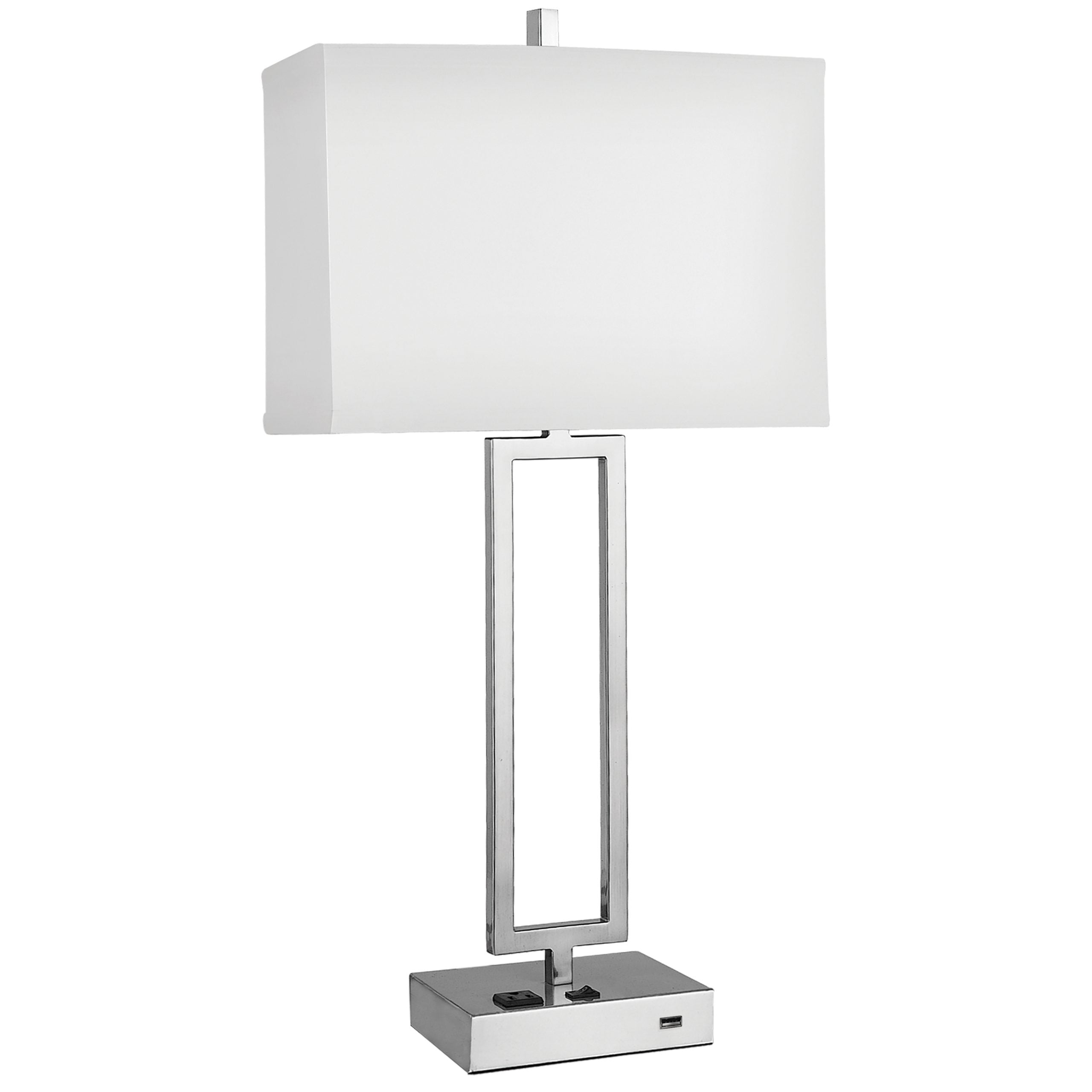 Gatsby Single Table Lamp with 1 Outlet & 1 USB