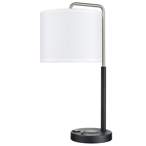 Valeria Single Table Lamp with 1 Outlet, 1 USB & 1 QI Wireless Charger
