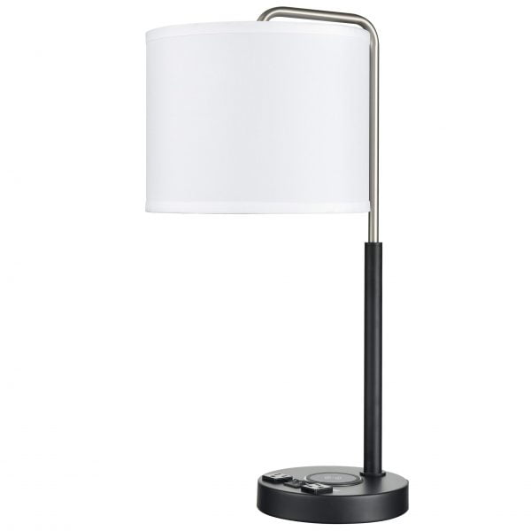 Valeria Twin Table Lamp with 2 Outlets, 1 USB & 1 QI Wireless Charger
