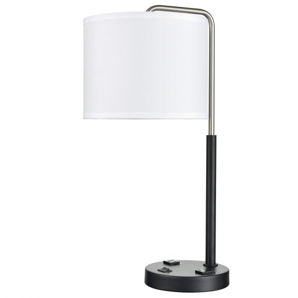 Valeria Twin Table Lamp with 2 Outlets & 1 USB