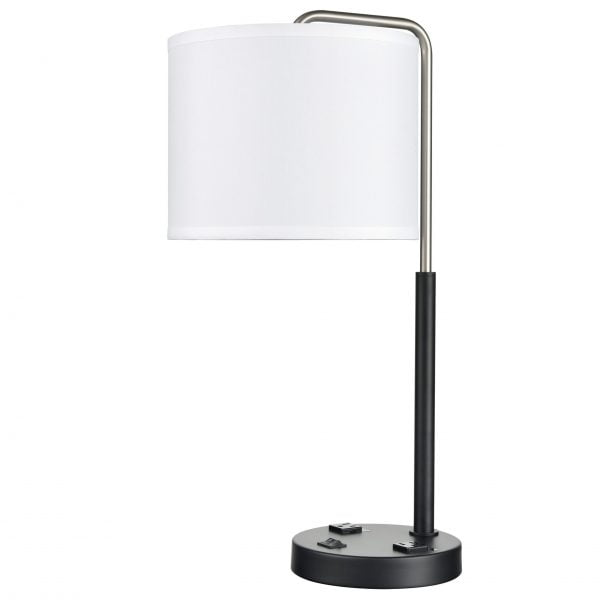 Valeria Twin Table Lamp with 2 Outlets
