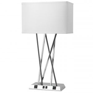 Breeze Twin Table Lamp with 2 Outlets