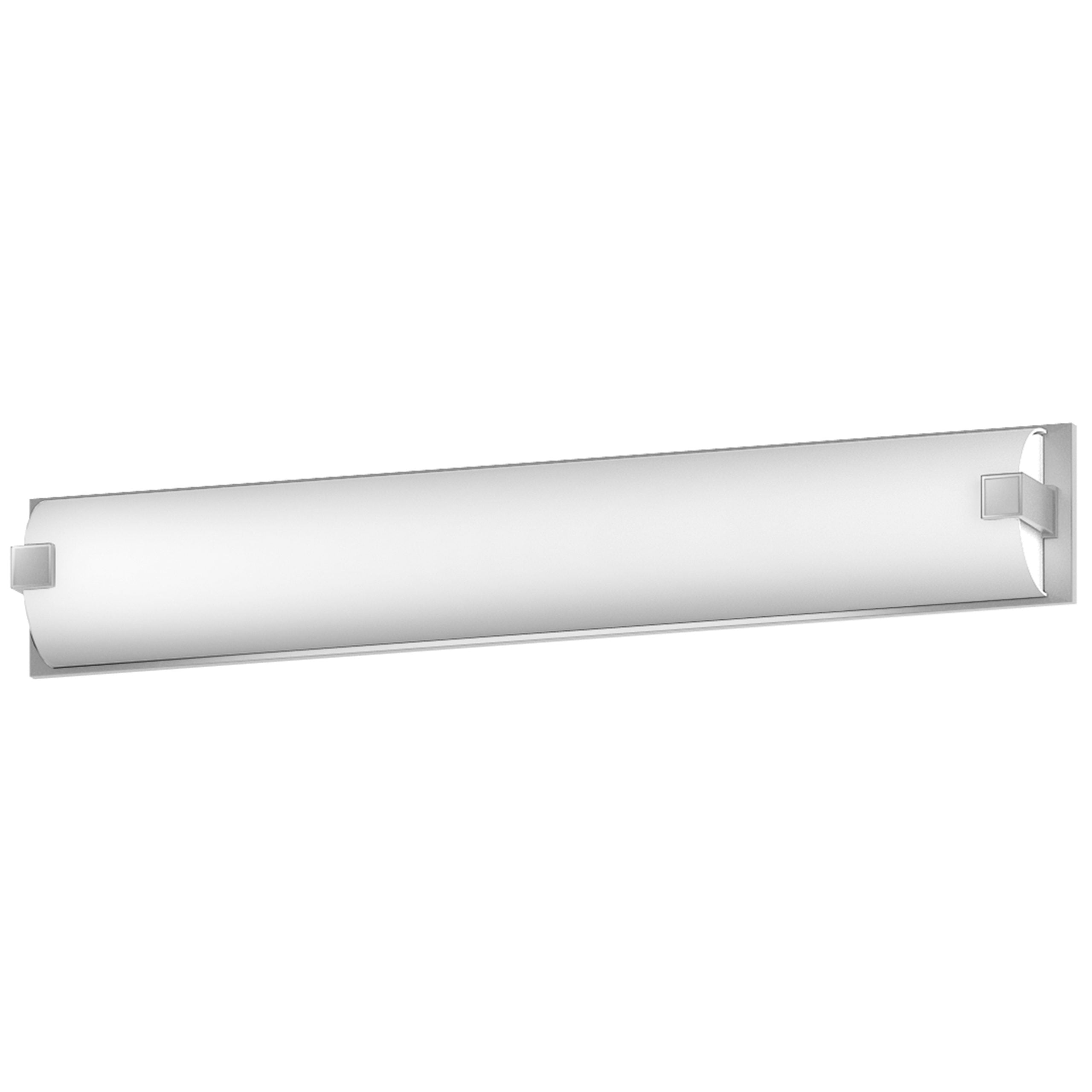 "38""W Satin Nickel Vanity Light with Frosted Acrylic Shade"