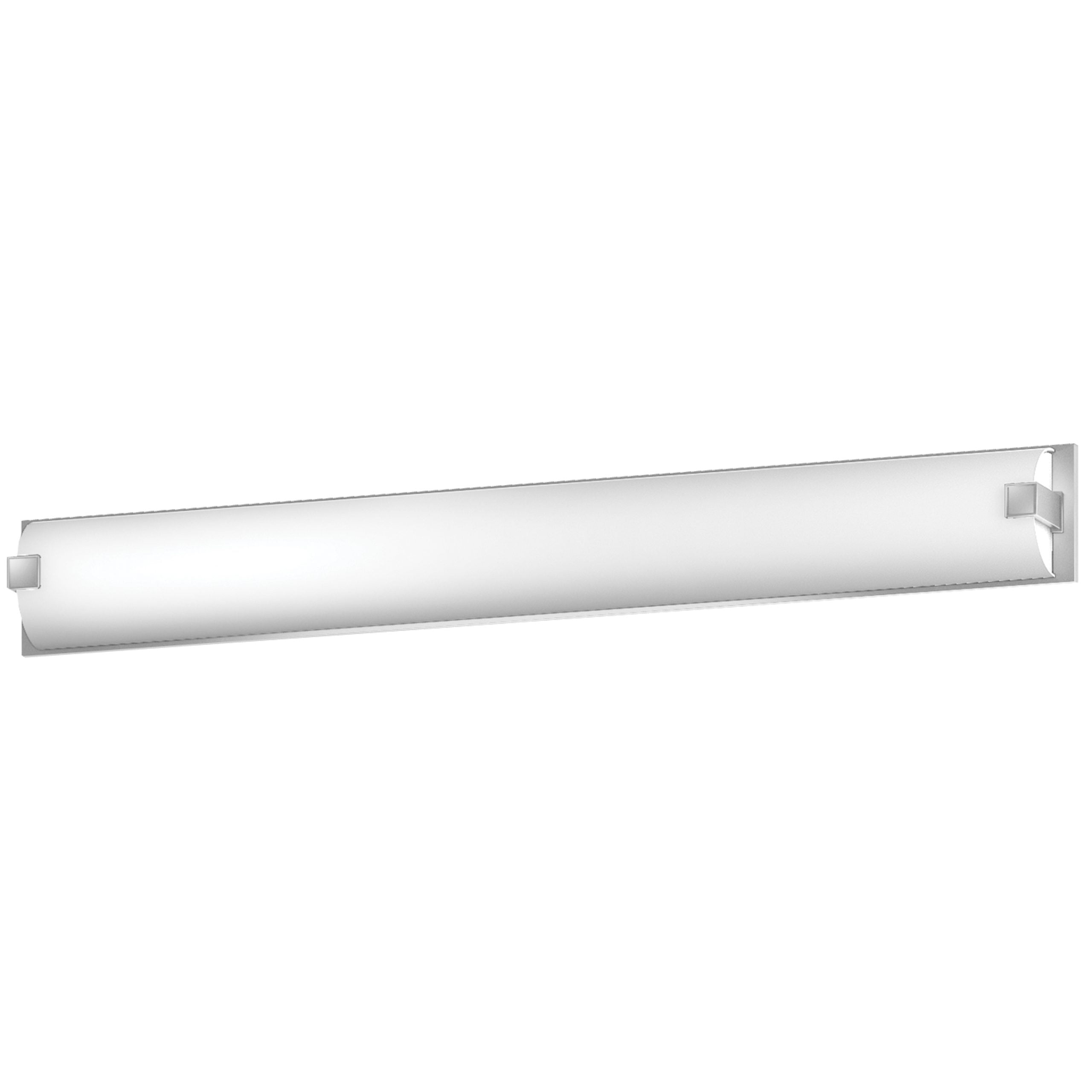"50""W Satin Nickel Vanity Light with Frosted Acrylic Shade"