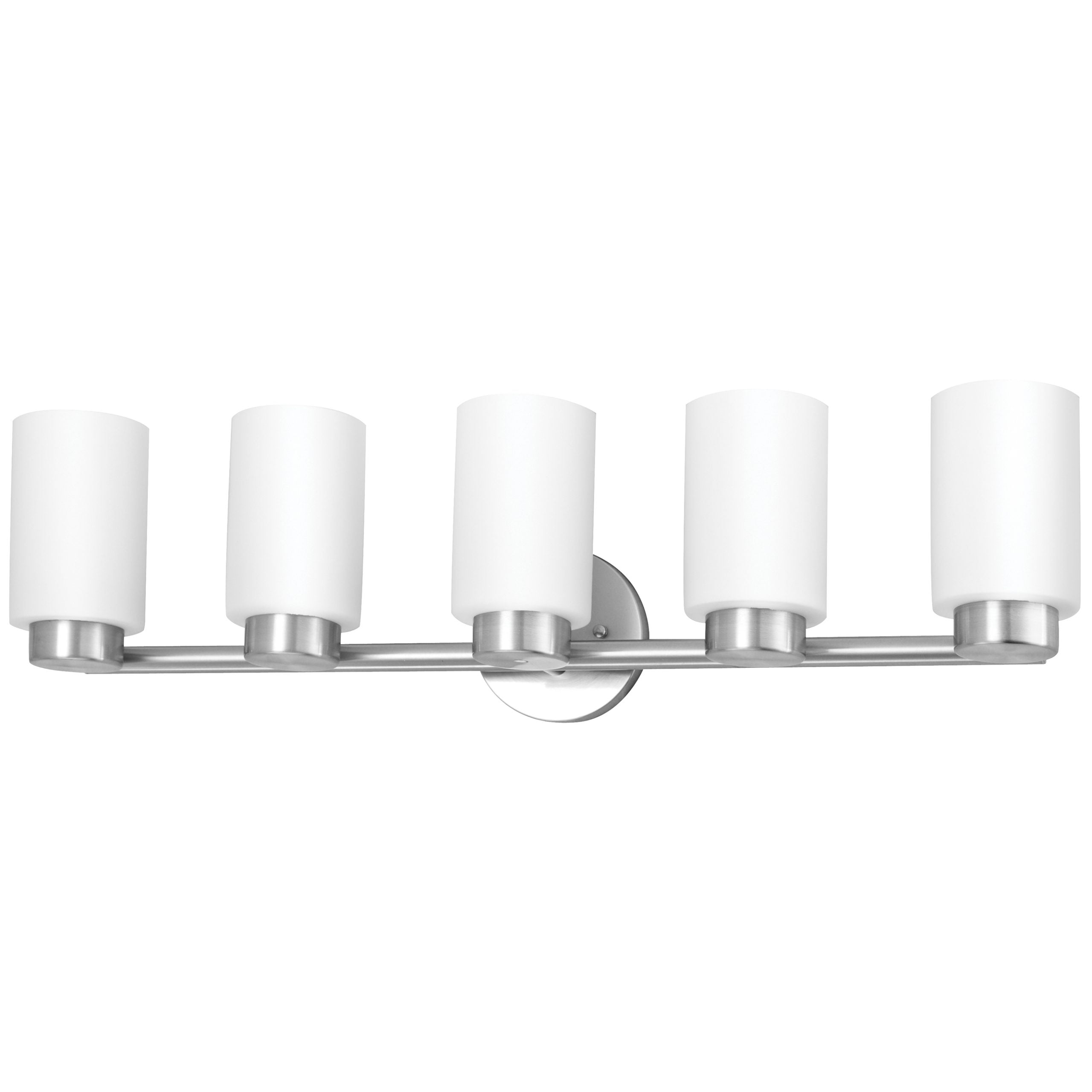 "31""W Brushed Nickel Vanity Light with Frosted Glass Shade"