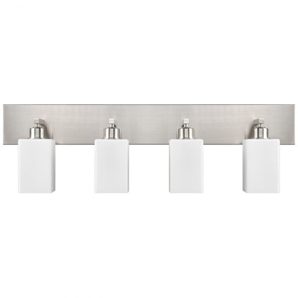 "37""W Brushed Nickel Vanity Light with Frosted Acrylic Shades"