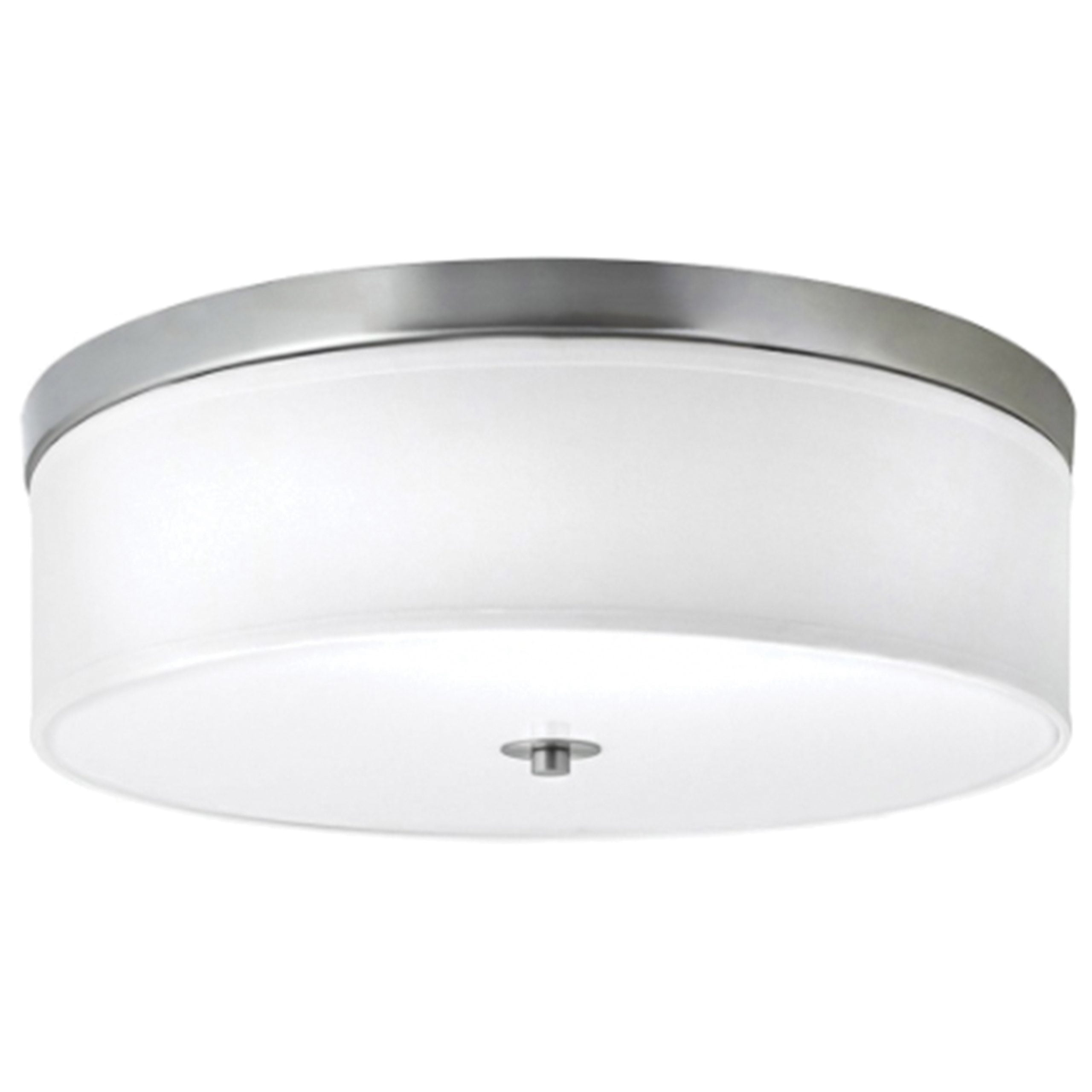 "16""W Brushed Nickel Ceiling Light with White Linen Shade and Frosted Diffuser"