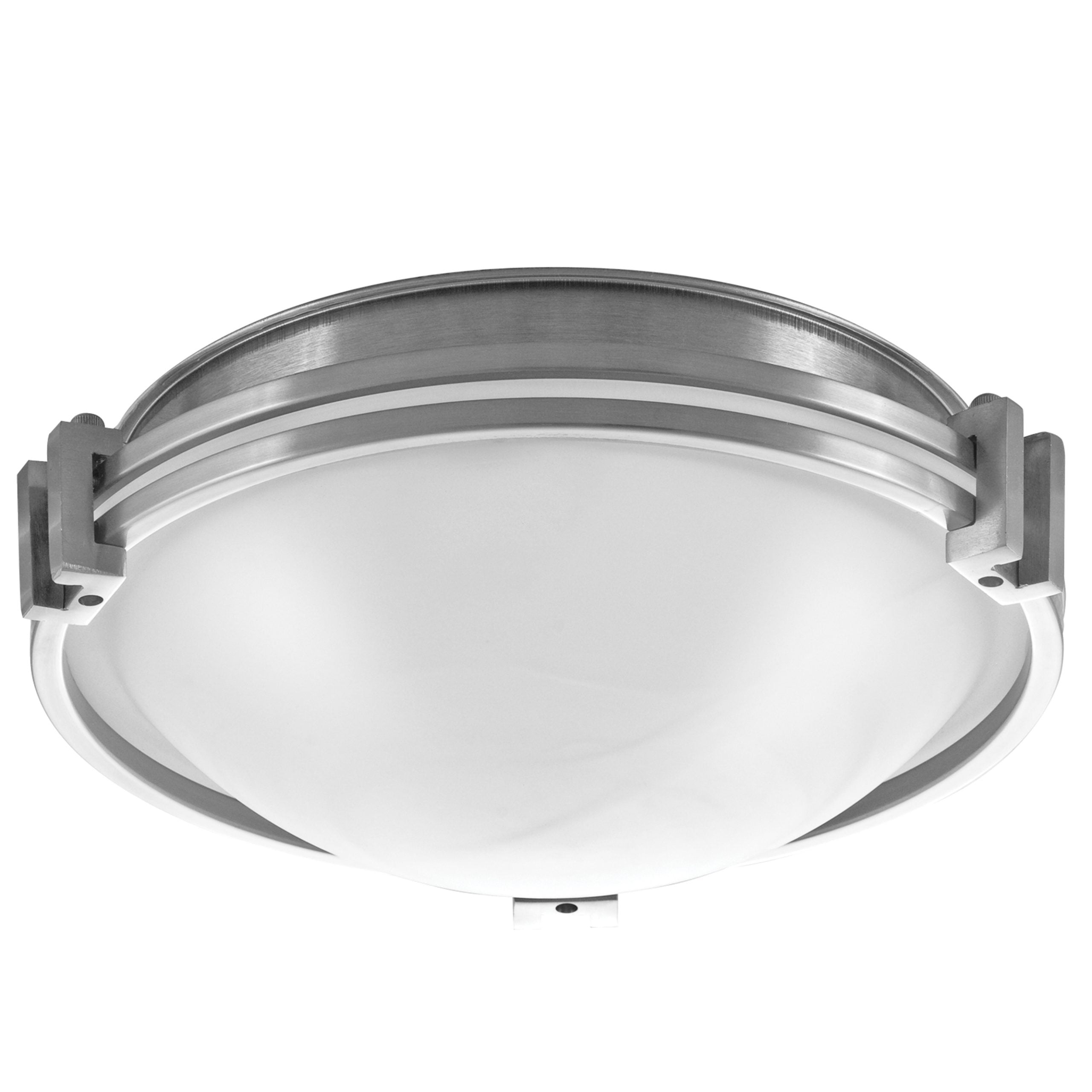 """12""""W Brushed Nickel Ceiling Light with Frosted Glass Shade"""