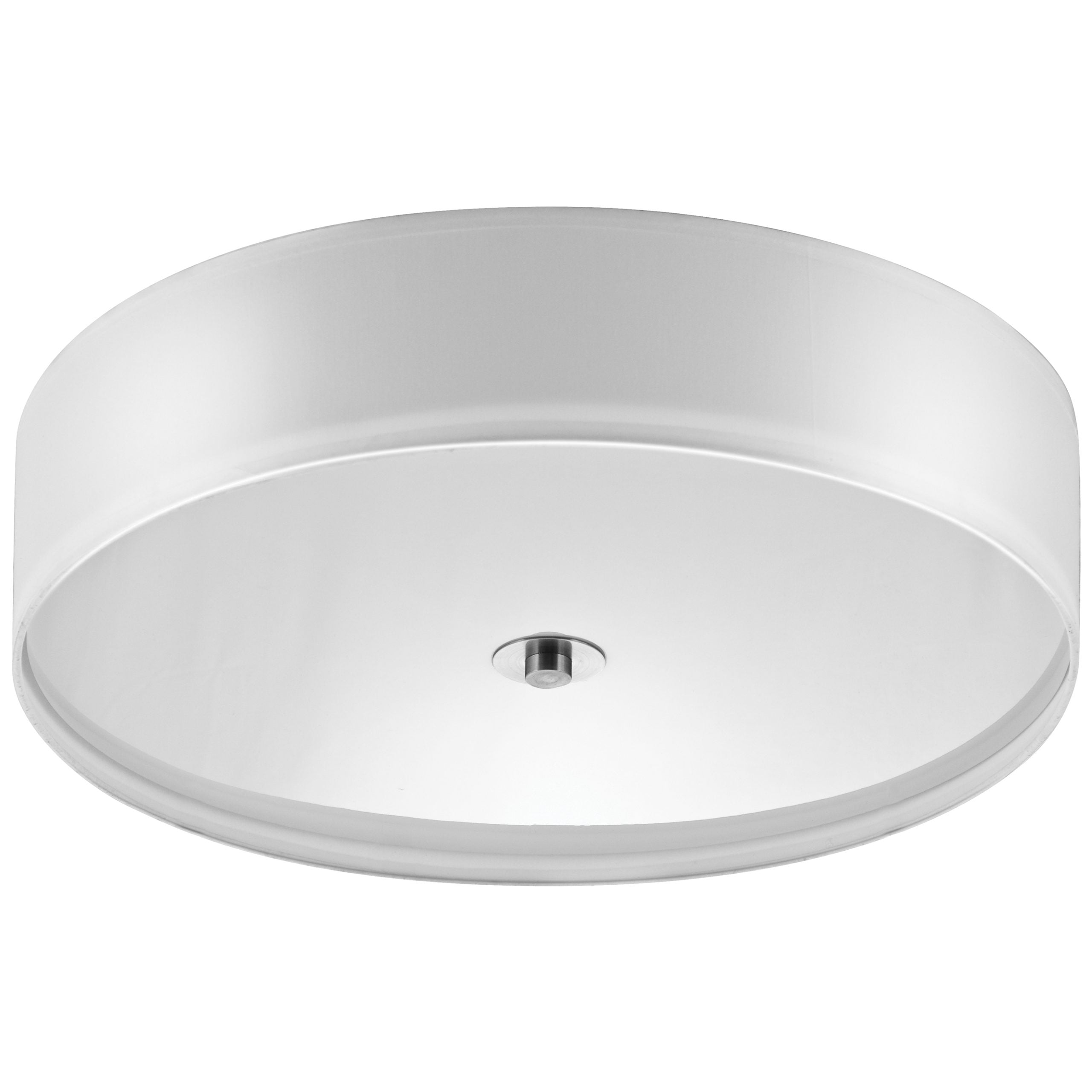 """22""""W Brushed Nickel Ceiling Light with White Linen Shade and Frosted Diffuser"""