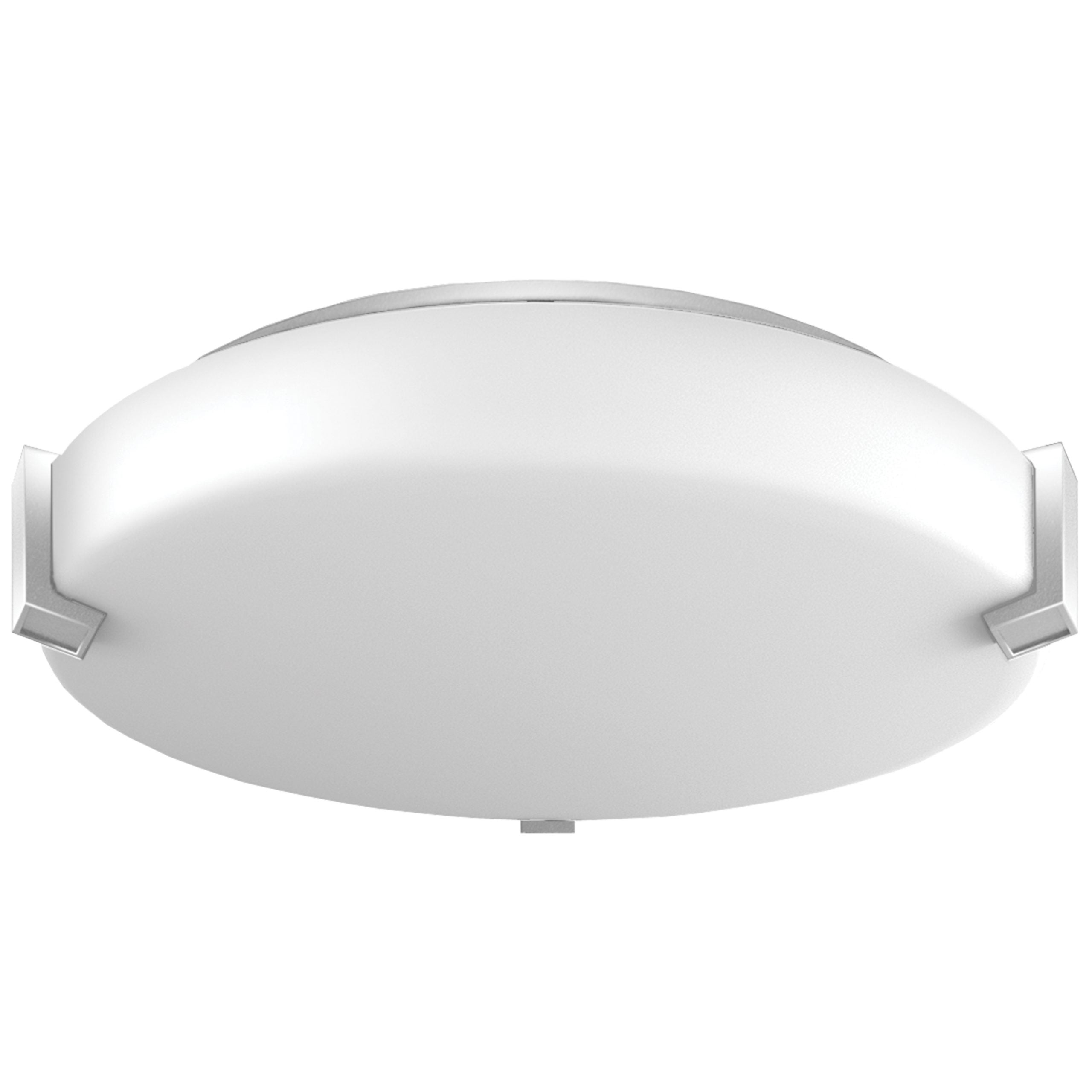 "16""W Satin Nickel Ceiling Light with Frosted Acrylic Shade"