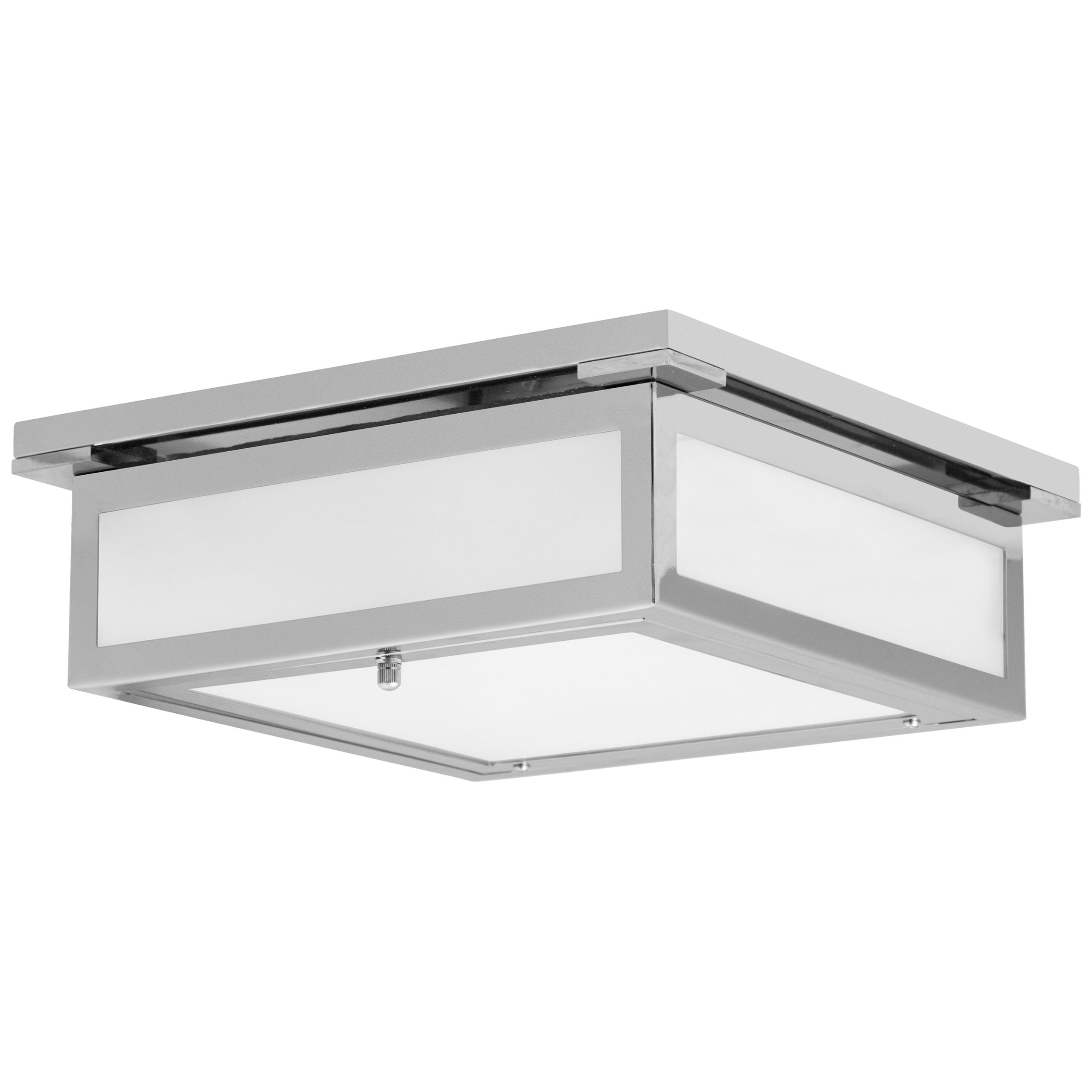 """12""""W Polished Chrome Ceiling Light with Frosted Glass Shade"""