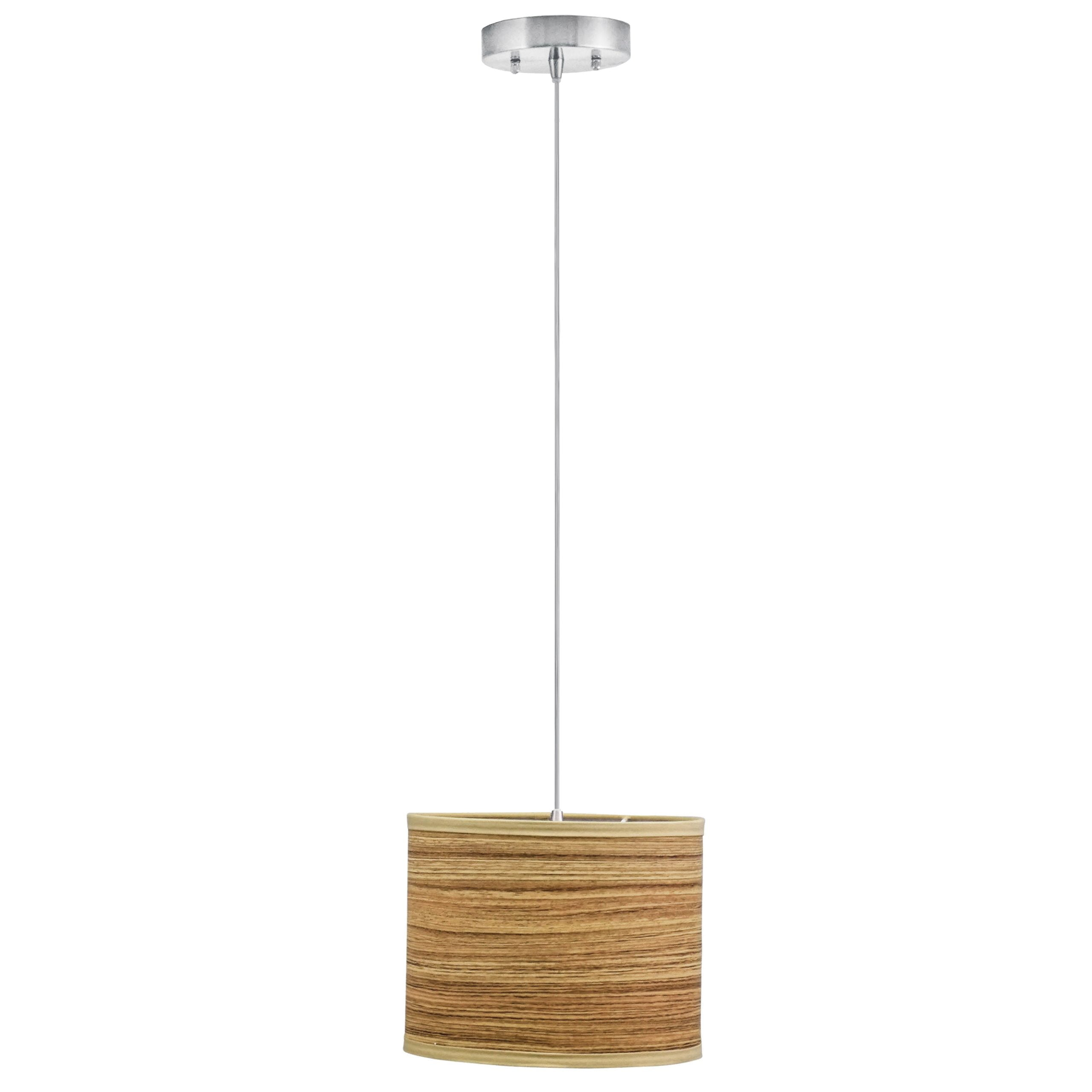 "10""W Satin Nickel Pendant with Zebrawood Shade"