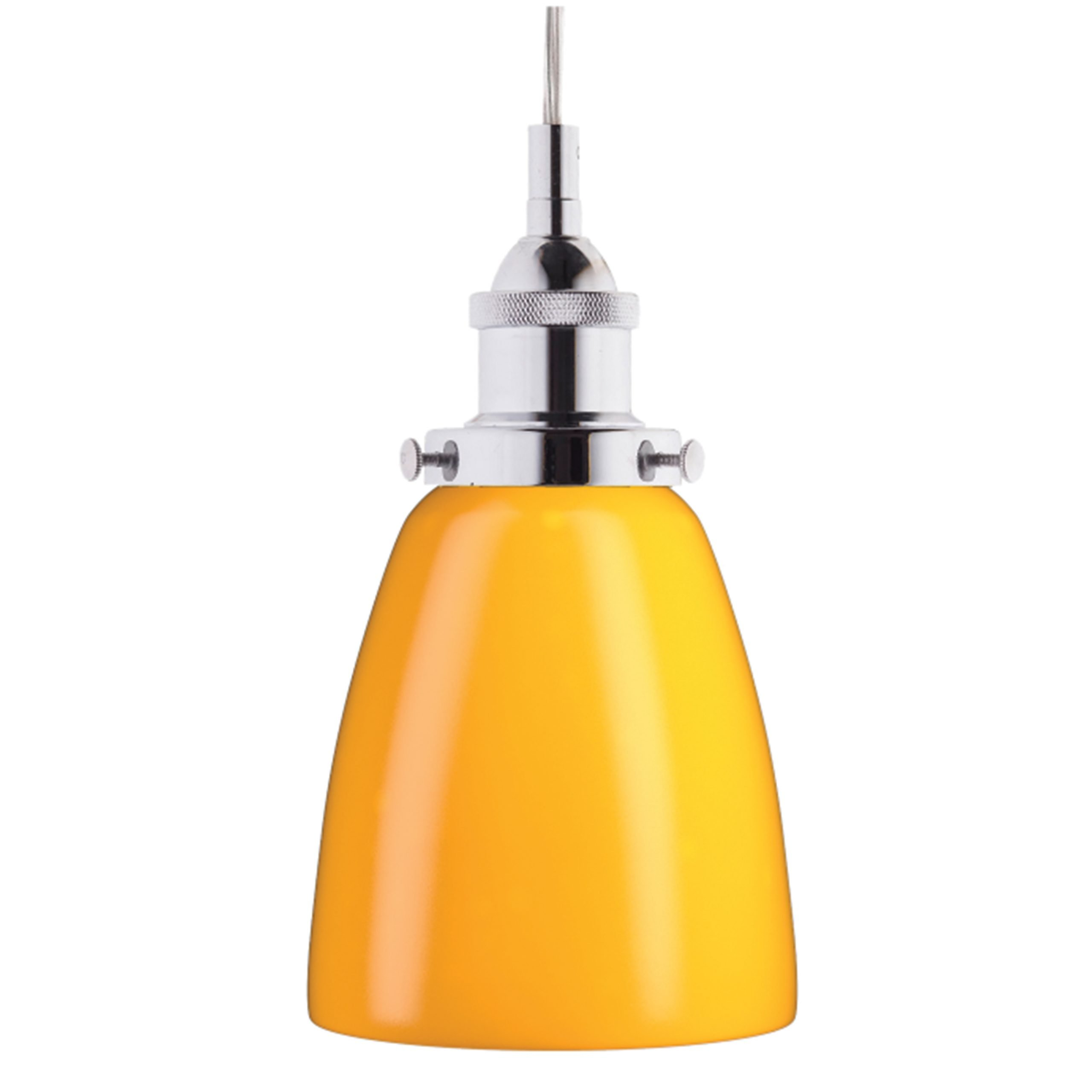 "5.5"" Diameter Polished Chrome Pendant with Yellow Glass Shade"
