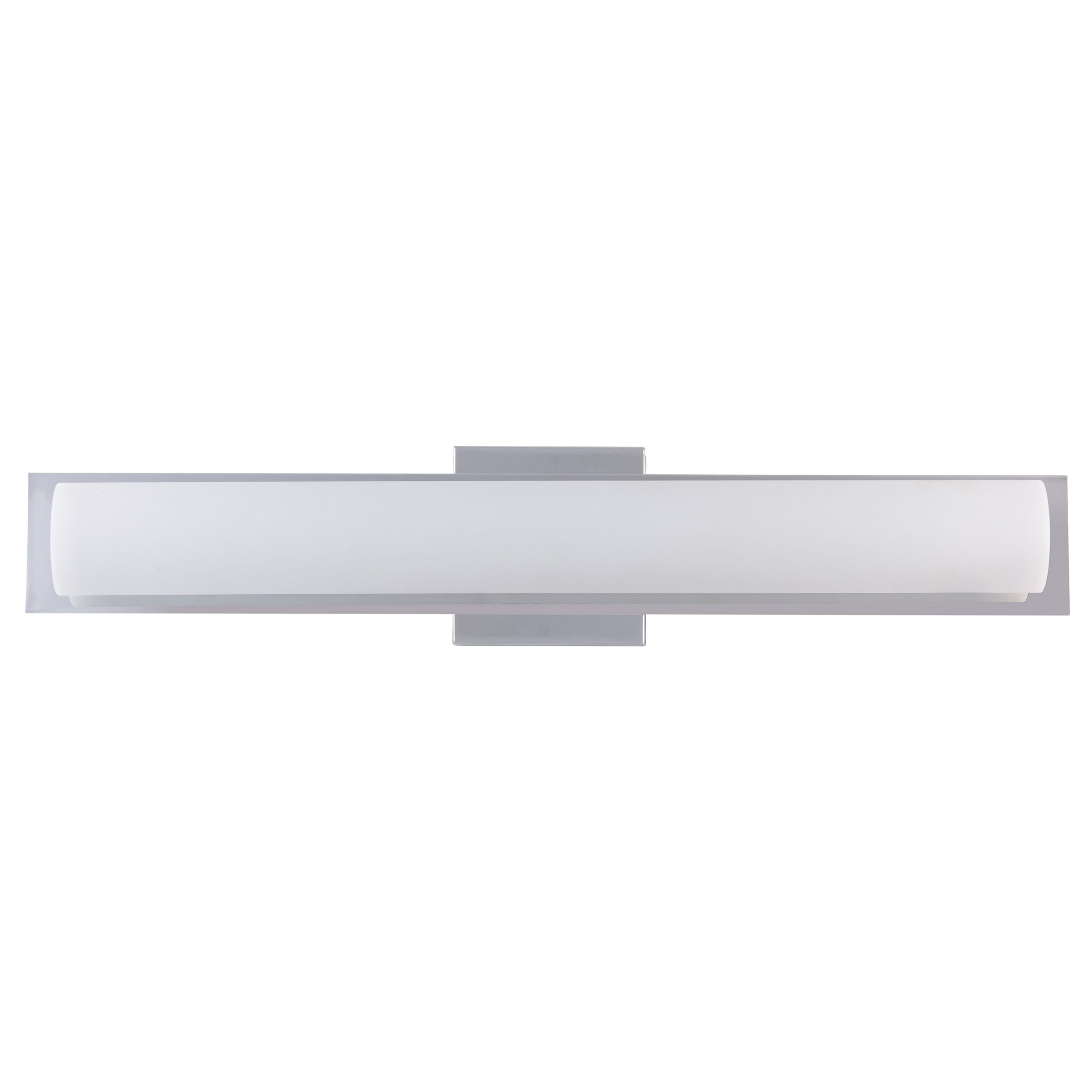 "24""W Polished Chrome Vanity Light with Frosted Glass Shade & Integrated LED"