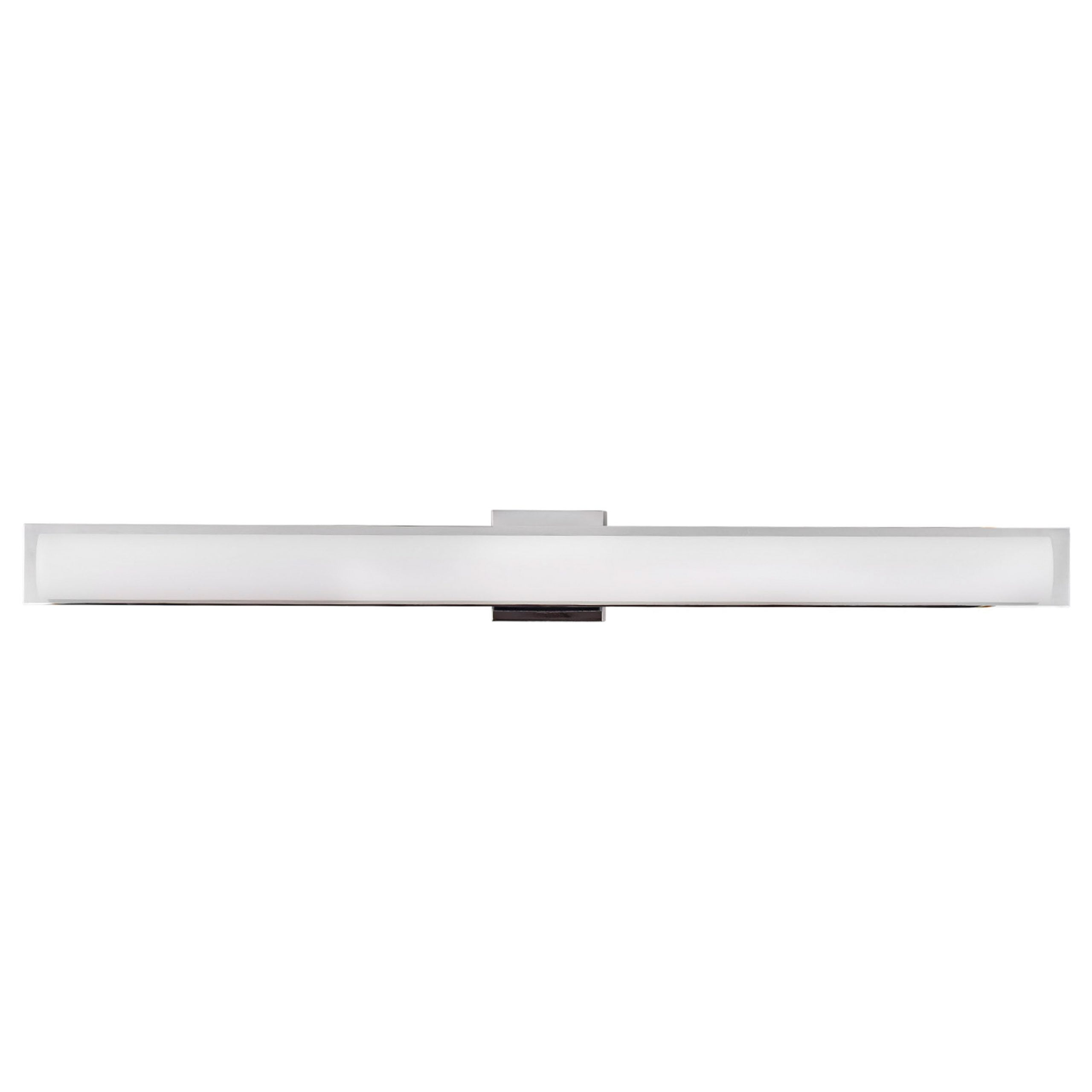 "42""W Polished Chrome Vanity Light with Frosted Glass Shade & Integrated LED"
