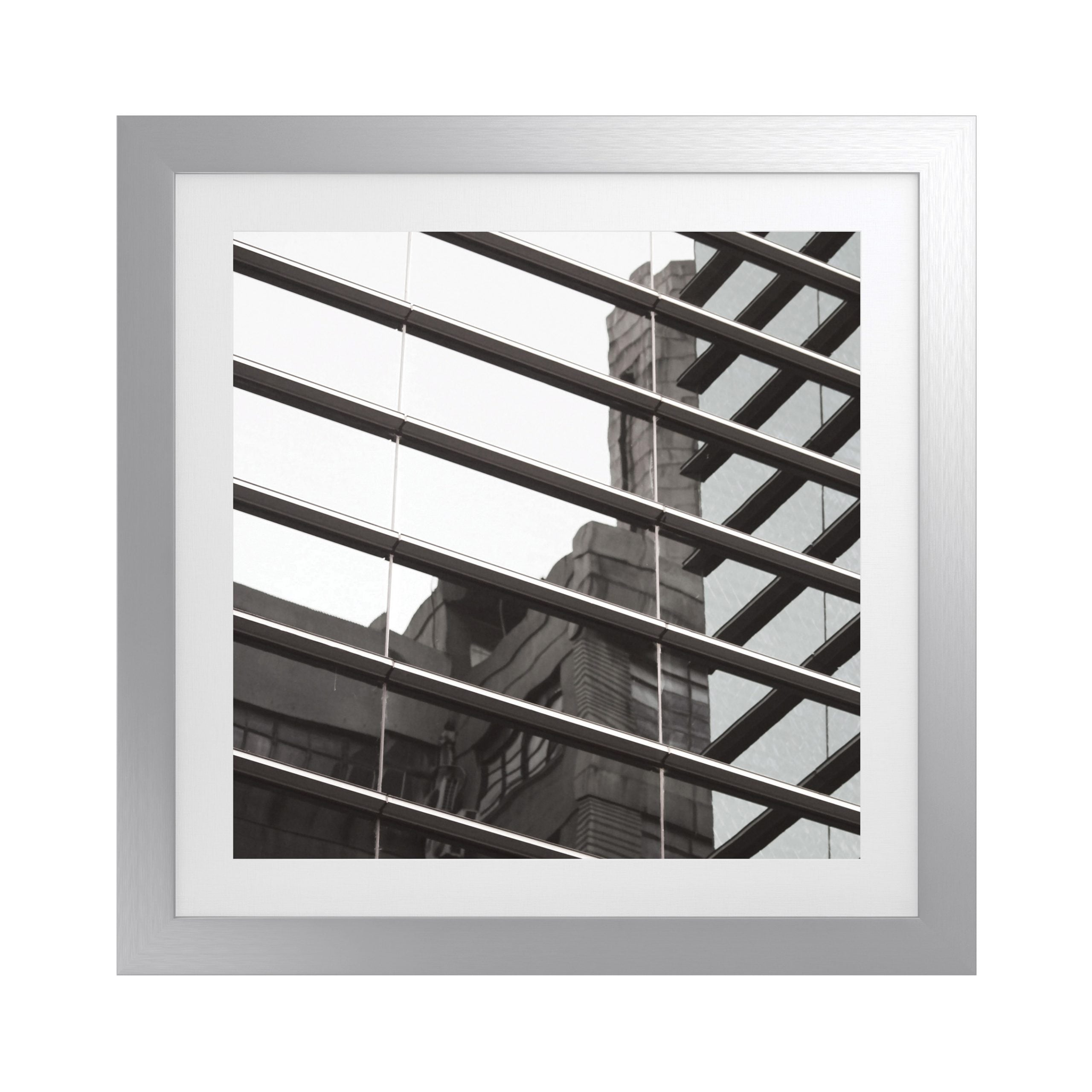 Geometric Square Artwork with Fornari Silver Frame